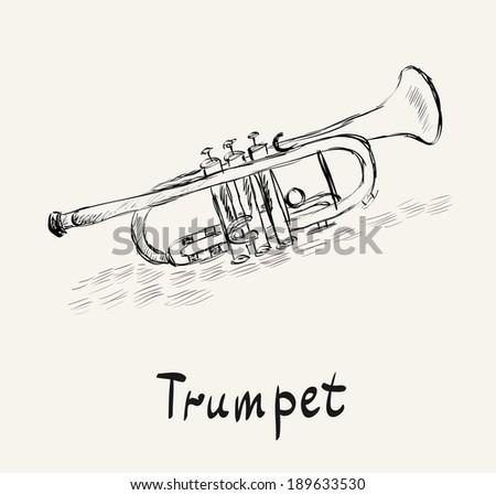 Hand drawn illustration of musical golden trumpet. - stock vector