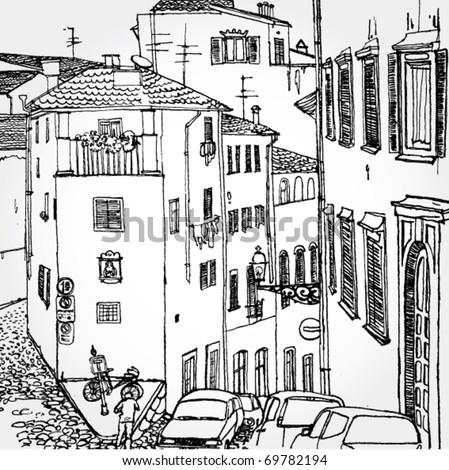 Hand Drawn Illustration of Old European Street - stock vector