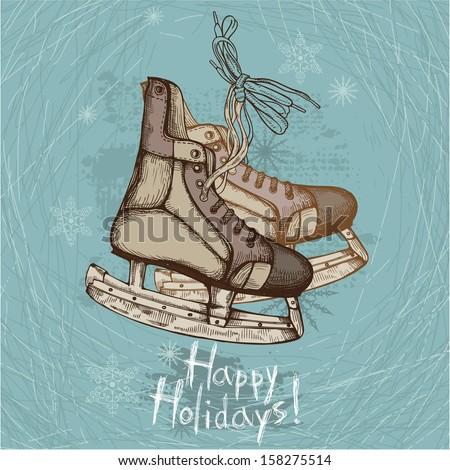 Hand Drawn Illustration of Old Retro Skates on winter background - stock vector