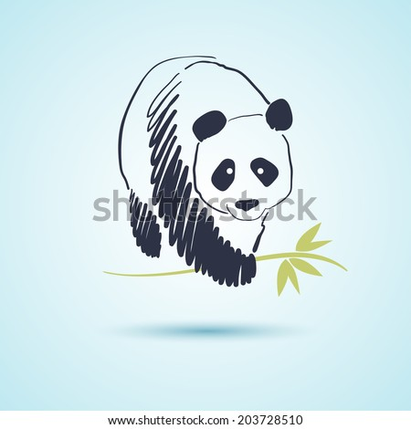 Hand drawn illustration of panda - stock vector