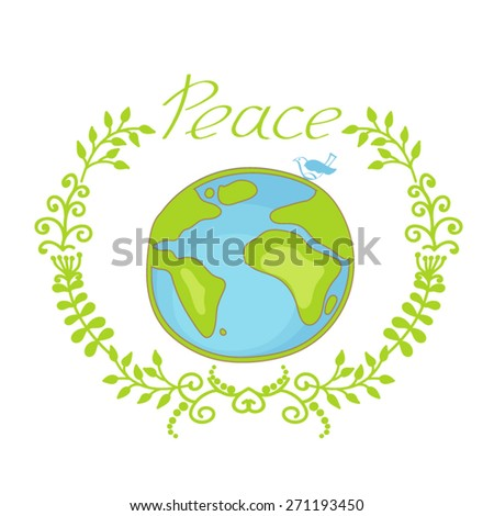 Hand drawn illustration of peace and earth. - stock vector