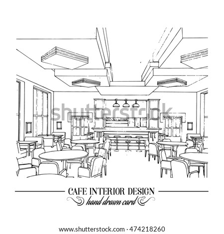 Hand drawn illustration of restaurant interior design made in line style.  Cafe interior in realistic