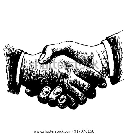 hand drawn illustration of shaking hands