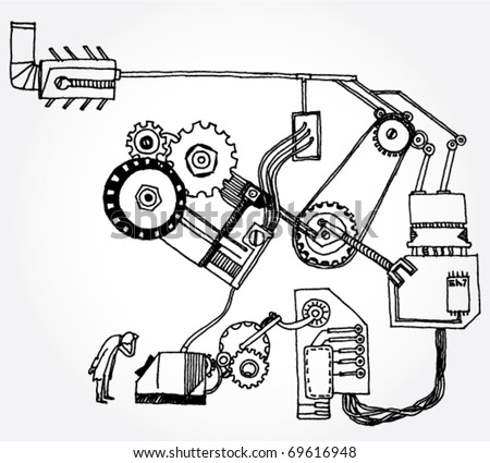 Hand Drawn Illustration of Some Mechanism and a Scientist - stock vector