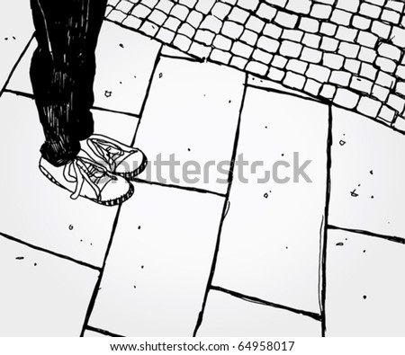 Hand Drawn Illustration of Somebody's foot - stock vector