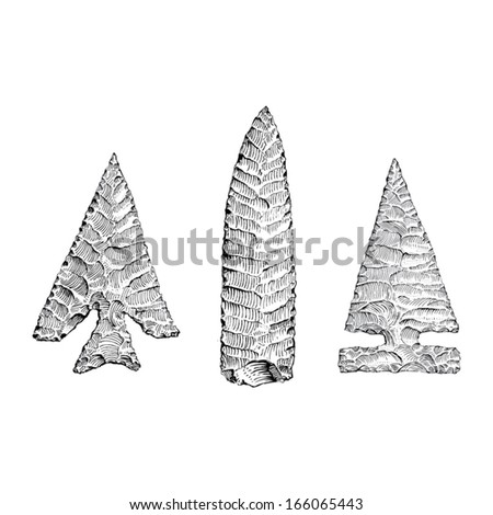 Hand drawn illustration of stone age arrow heads and spear points
