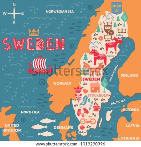 Hand Drawn Illustration Sweden Symbols Map Stock Vector HD Royalty