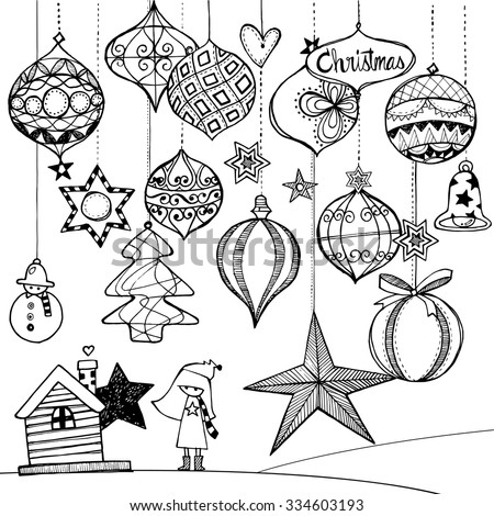 Hand Drawn Illustration Of The Decoration For Christmas Holiday Beautiful Light Bulbs And Balls With