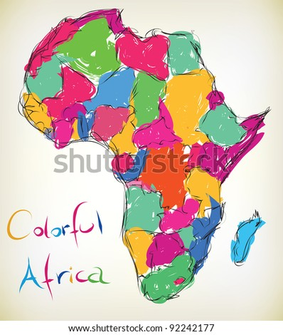 Hand-drawn illustration of the map of Africa