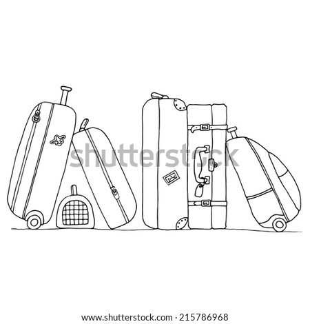 Hand drawn illustration of  travel  suitcases and bags . Vector decoration elements - stock vector
