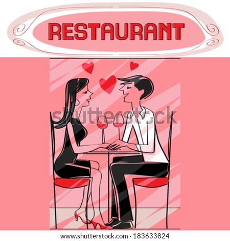 Hand drawn illustration of two lovers dining at the restaurant, talking and drinking wine, pink Valentine's Day card - stock vector