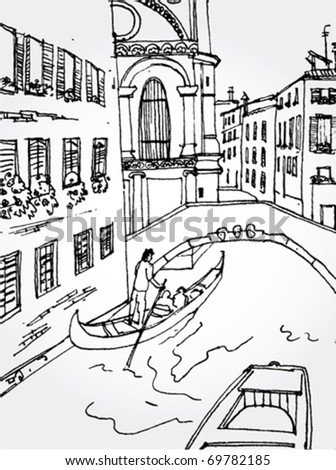 Hand Drawn Illustration of Venice Street - stock vector