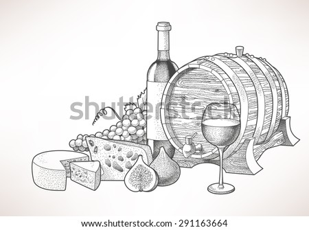 Hand drawn illustration of wine, cheese and figs - stock vector
