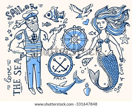 Hand drawn illustration sailor and mermaid. Doodle native drawing. - stock vector