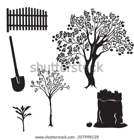 apple tree clipart black and white. hand drawn illustration set of garden equipment and apple trees. black white silhouettes. tree clipart