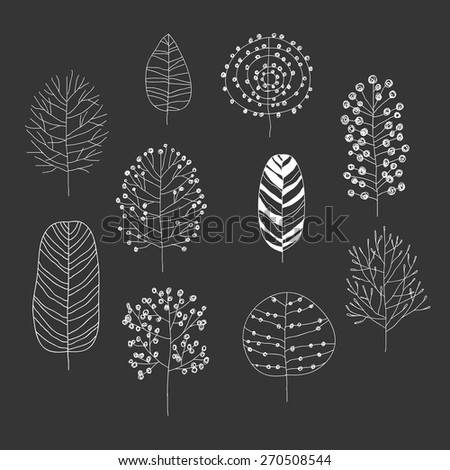 Hand drawn illustration set with flowers and trees. vector illustration - stock vector