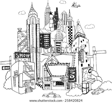 Hand drawn illustration that skyscrapers and theaters stand densely together in the midtown of a city. - stock vector