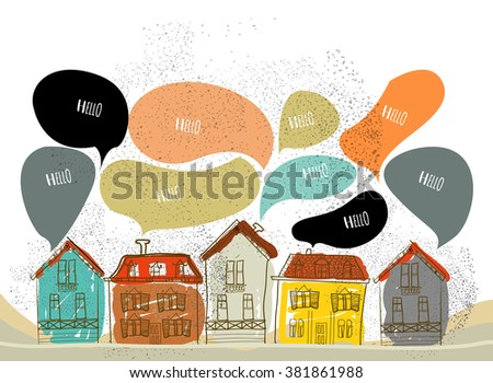 Hand-drawn illustration, village, vector
