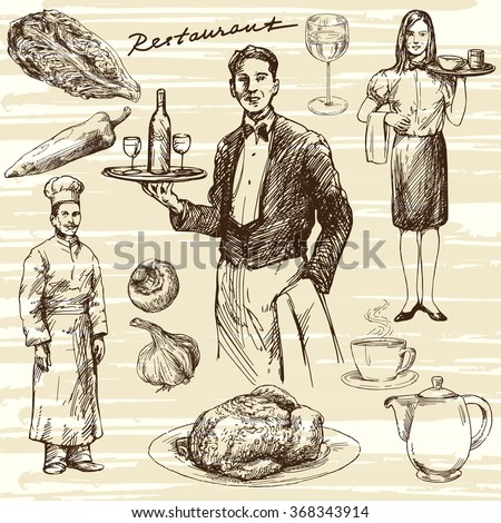 Hand drawn illustration. Waiter serving wine on a tray.  - stock vector
