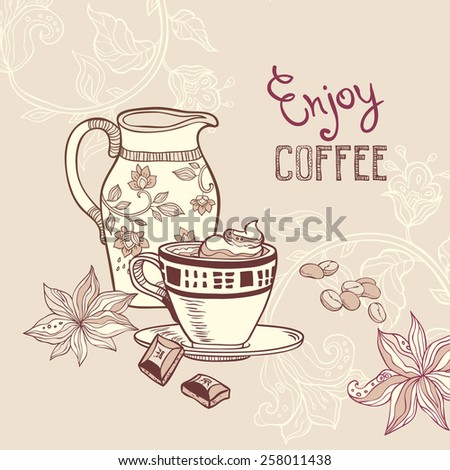 hand drawn illustration with coffee cup and creamer