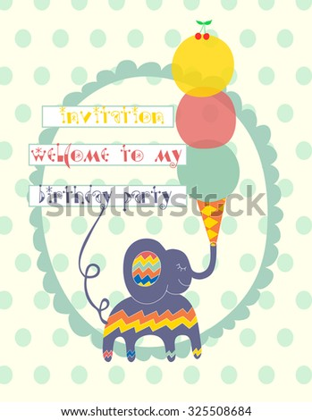 Hand-drawn illustration with cute elephant, ice-cream and cherry in bright colors - decoration for birthday party. Party kids invitation. Funny vector background with place for text. - stock vector