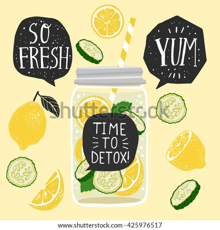Hand drawn illustration with detox water in jar with lemon and cucumber slices, speech bubbles with handwritten lettering.