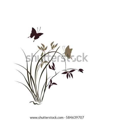Hand drawn illustration with orchid and butterfly. Vector isolated on white.