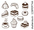 Hand-drawn illustrations of cakes and baked desserts - stock vector