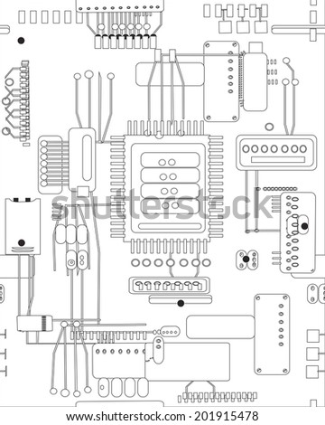 hand drawn in vector abstract schematic circuit board