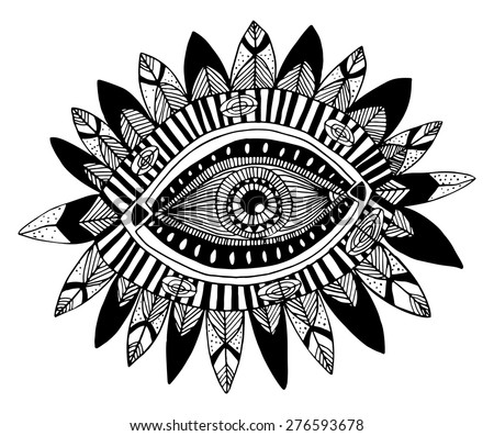Hand drawn indian aztec tribal eye with feathers fashion illustration - stock vector