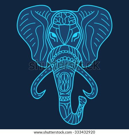 Hand-drawn indian elephant head vector illustration. Silhouette of elephant