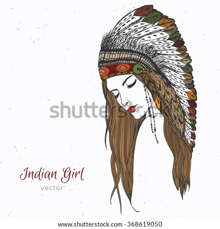 Hand drawn indian girl in war bonnet with feathers. Colored - stock vector