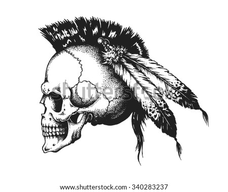 Hand drawn Indian warrior skull with mohawk. Vector illustration