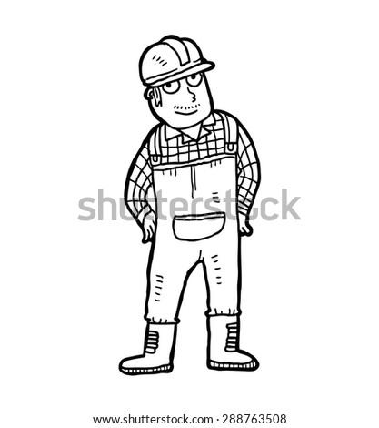 hand drawn industrial worker wearing safety helmet - stock vector