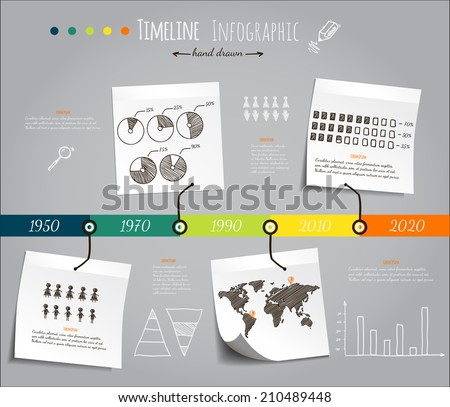 Hand drawn infografic timeline, vector template  - stock vector