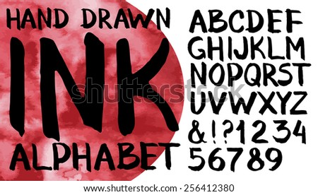 Hand drawn ink alphabet. Letters and numerals. Vector font - stock vector