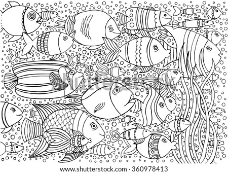Hand Drawn Ink Background With Many Fishes In The Water Sea Life Design For Relax