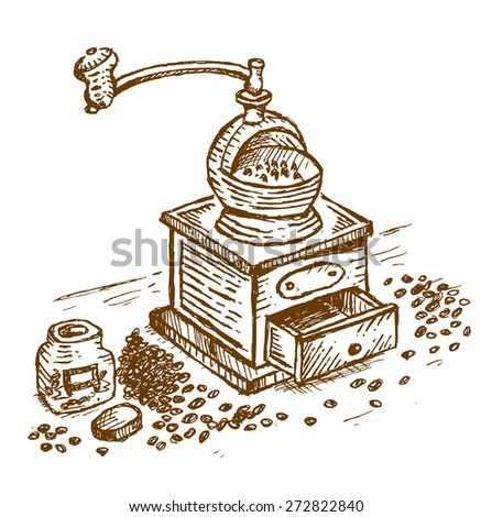 Hand drawn Ink Drawing of a classical coffee grinder. Isolated Editable EPS10  - stock vector
