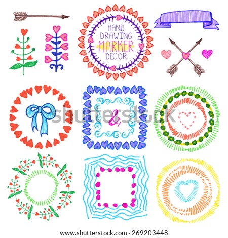 Hand drawn ink highlighter marks frames,wreath, heart ,floral decor,arrow set.Colored Doodle decor.For design template,wedding, invitations, holiday, Valentine day,baby design.Love Vector