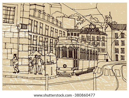 Hand drawn ink line sketch European town, historical architecture like Lvov. European old town with buildings, roofs in outline style. Ink drawing of cityscape. Scene street perspective view.