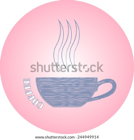 hand drawn ink logo coffee cup on pink background  - stock vector