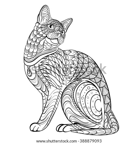 Adult stock images royalty free images vectors for Cat coloring pages for adults