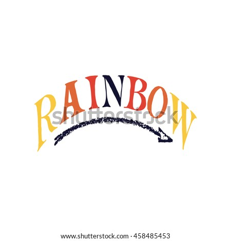 hand drawn ink texture rainbow lettering stock vector royalty free
