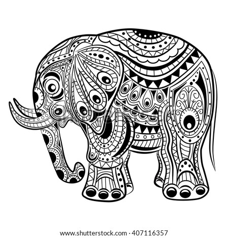 Bohemian Elephant Coloring Pages
