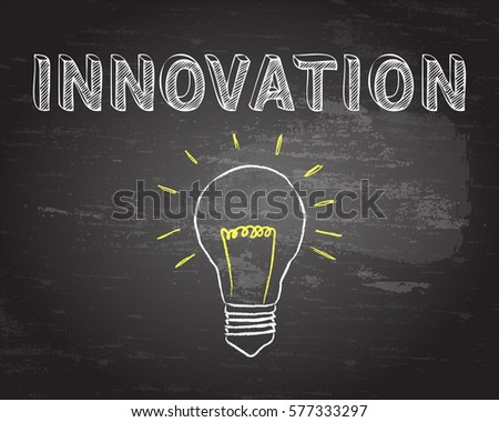 Hand drawn innovation sign and lightbulb on blackboard