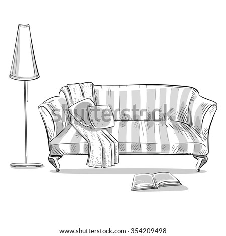 hand drawn interior element. Comfortable sofa and a lamp - stock vector