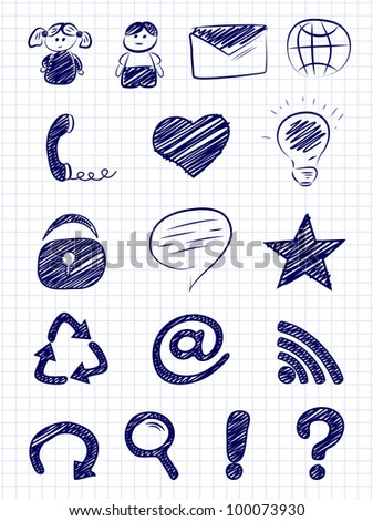 Hand drawn internet and web icons on a paper background - stock vector