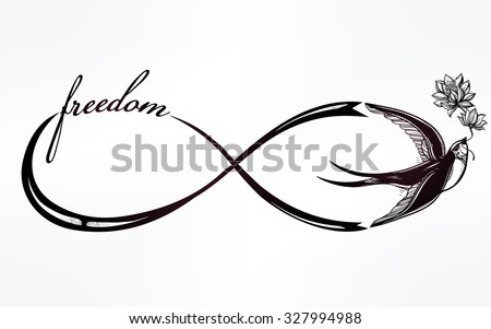 Hand drawn intricare infinity sign with swallow in vintage retro style. Elegant tattoo art, romance, love, magic, freedom ,scrap cooking, textiles, invitations. Isolated vector illustration. - stock vector