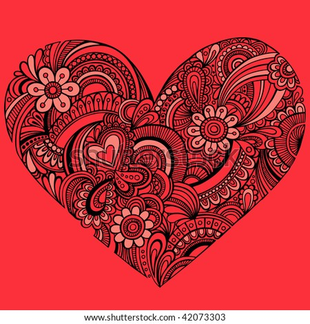 Hand-Drawn Intricate Henna Tattoo Paisley Heart Doodle Vector Illustration on Red Background - stock vector