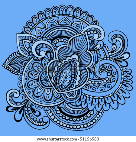 Hand-Drawn Intricate Mehndi Henna Tattoo Paisley Doodle- Vector Illustration on Blue Background - stock vector